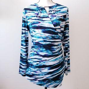 Calvin Klein Faux Wrap Long Sleeve Blouse